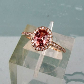 14k Rose Gold Apricot Cranberry Sapphire Diamond Halo Engagement Ring Morganite Alternative Gemstone Engagement Ring