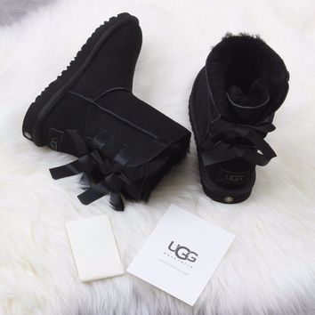 Sale Ugg 1016225 Ribbon Bow Black Classic Bailey Bow II Boot Snow Boots