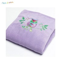 Throw Rug Owl Song Coral Fleece Embroidered 127 x 152 cm by Jiggle & Giggle