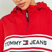 Tommy Hilfiger Fashion Hooded Zipper Cardigan Sweatshirt Jacket Coat Windbreaker Sportswear
