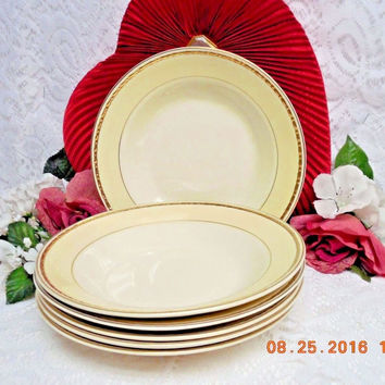 Homer Laughlin China Dinnerware Viceroy, Eggshell Georgian #G3571- 6 Rim Soup