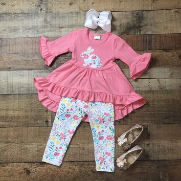 RTS Girls Easter Outfit, Coral High Low Floral Bunny Top With Matching Floral Leggings D24