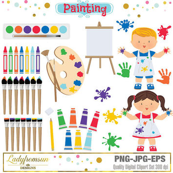 Painting Clipart Set, art set, Kindergarten Clipart, Painting Kids, Art Party, Little Artist, Pre-School Graphics,Commercial-Personal Use