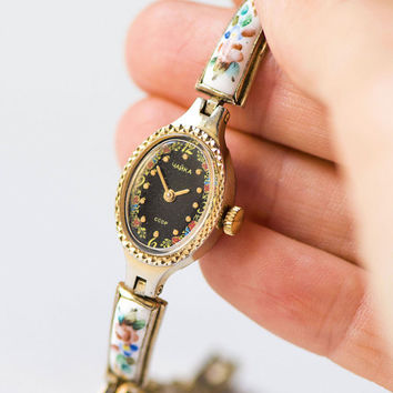 Vintage floral watch for women Seagull, gold plated lady watch, ceramic jewelry watch bracelet, cocktail watch black oval watch small wrist