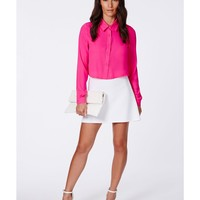 Missguided - Kinea Neon Pink Cropped Shirt
