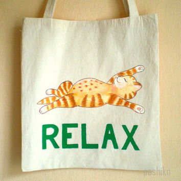 SALE - Cat Tote Bag, Handpainted Eco Friendly Natural , gift  under 25 for pet lovers