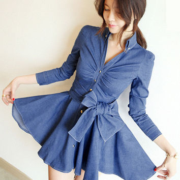 Blue Denim Bowknot Waist V-neck Long Sleeve Mini Skater Dress