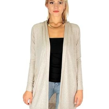 OATMEAL- LONG-LINE HOODED CARDIGAN WITH POCKETS RC1124