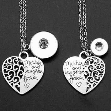 """New DJ0042 Beauty Fashion Love Heart """"Mother&daughter"""" charm Snap necklace 50cm fit DIY 12MM&18MM charm snap buttons jewelry"""