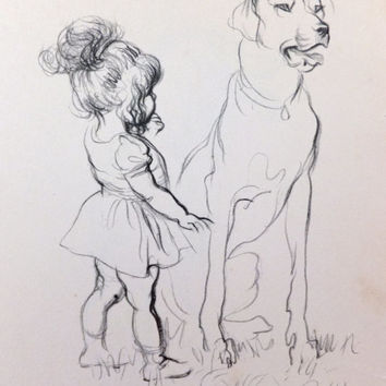 Vintage Picture. Print of Dogs with children. 1930s picture,  Black and White Drawings Pencil drawings
