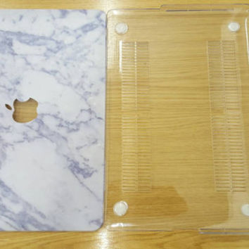 White Marble MacBook Case - Top (printed) and Bottom (clear) Hard Plastic MacBook Case