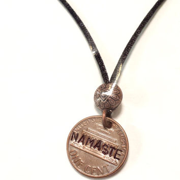 Penny Necklace, Namaste Stamped Lucky Penny, Handmade Coin Necklace, Penny Jewelry, Personalized, Custom Stamping, Yoga, Zen, Honor, Soul
