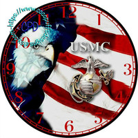 "USMC Marines Corp Logo on the American Flag with an Eagle Art - -DIY Digital Collage - 12.5"" DIA for 12"" Clock Face Art - Crafts Projects"
