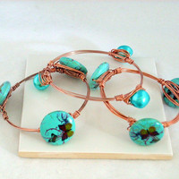 EXQUISITE - Aqua Satin Pearl Bangle Bracelet Wrapped With Copper Wire Layered Together. Its like looking at the Ocean on a Cool Summer Day!
