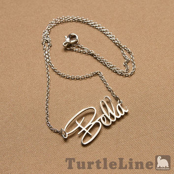 "PersonalizedNecklace Name Necklace  ""Script Style""Nameplate necklace"