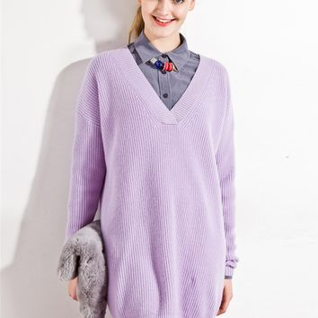 Purple V-neck Long Sleeve Longline Knit Sweater