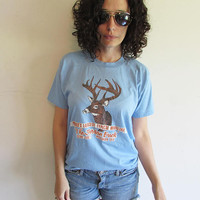 Vintage 70s Screen Stars Worlds Largest Typical Whitetail Deer Jordan Buck Wisconsin Odd T Shirt