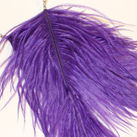 Ostrich Plume Earrings Feather Earrings. Choose Color - Dark Purple, Lilac, Light Plum. Long Dangle Earrings for Teens, Adults. Feathery