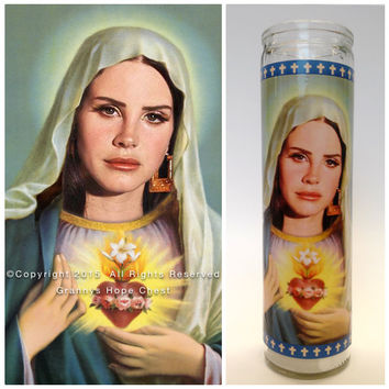 "Lana Del Rey Prayer Candle. The Virgin Lana Del Rey! Great Gift! Premium Handmade 9"" Soy Candle!"