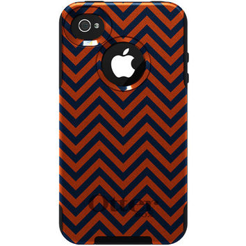 CUSTOM Otterbox Commuter Case for iPhone 4 / 4S - Auburn University Tigers Colors War Eagle - Chevron Zig Zag