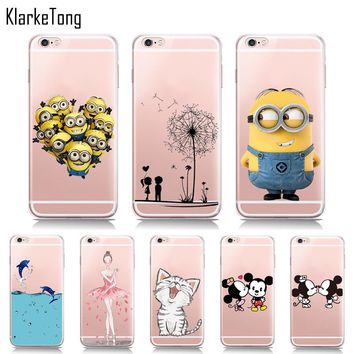 Cute Minions Cat Mickey & Minnie Kiss Soft TPU Case For iphone 6 6s 5 5s SE 7 6Plus Transparent Silicone Cover Fundas Capinhas