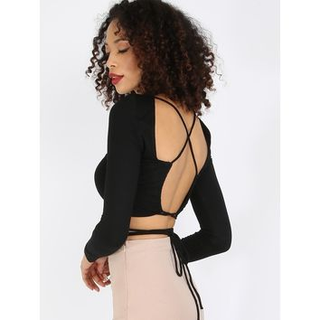 Criss Cross Tied Back Crop Top