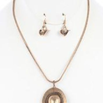AGED FINISH Metal Cow Girl  COWBOY HAT Pendant  NECKLACE AND EARRING SET
