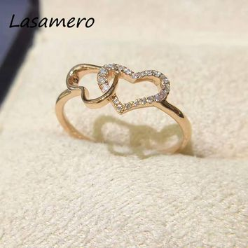 LASAMERO Ring For Women 0.08CTW Ring Double Heart shape Natural Diamond Ring 18k Gold Real Diamond Engagement Wedding Ring
