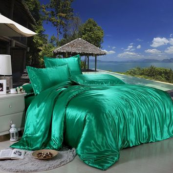 Jeefttby Soft Emerald Green Silk Satin 4pcs Bed Sheet Solid Color Double Simulation Silk Satin Bedding Duvet Cover Pillowcase