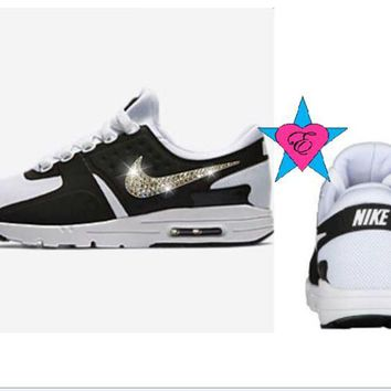 Custom Crystal Bedazzled Women Nike Air Max Zero Black White Shoes