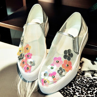 Floral Thick Crust Platform Flat Leather Casual Summer Shoes [4920608452]