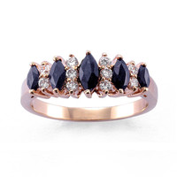 Genuine Sapphire and Cubic Zirconia Marquise Band Ring