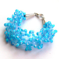 Blue Bracelet. Bridal Bracelet. Wedding Bracelet. Bridesmaid Bracelet. Beadwork