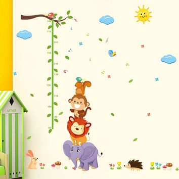 animal Monky Bird Lion sky sun tree baby child height measure growth chart home decal wall sticker kid room nursery kindergarten