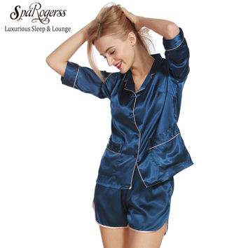 SpaRogerss Women Pajama Sets Summer 2017 Silky Ladies Pajamas Shorts 2 Pcs Set Faux Silk Female Sleep Lounge Size L Pyjama TZ319