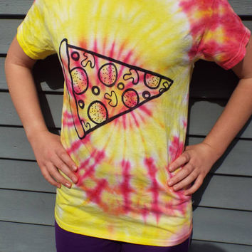 Pizza Shirt, Tie Dye Shirt for the Pizza Lover, Adult Small Tie Dye Pizza Tshirt, Grad gift, teen boy gift, Pizza Party, pizza birthday