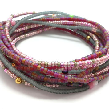 Seed bead wrap stretch bracelets, stacking, beaded, boho anklet, bohemian, stretchy stackable multi strand, pink red rainbow grey metallic