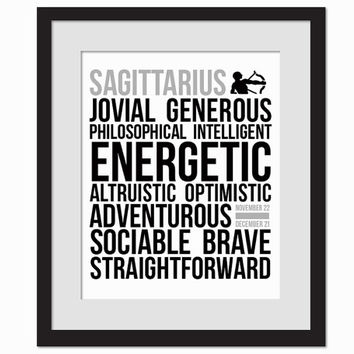 Sagittarius Personality Character Traits - Black & White Subway Art Print - Typography Poster - 8 x 10 Wall Decor - Birthday Gift