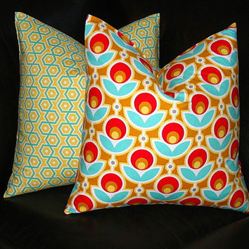 "Pillows Joel Dewberry Poppy Accent Pillows 20x20 inch set of TWO aqua, yellow, red 20"" Decorative Throw Pillows GEOMETRIC modern"