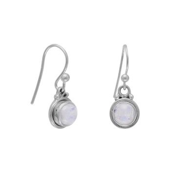Round Moonstone French Wire Earrings
