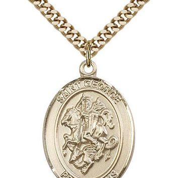 14K Gold Filled St George Paratrooper Military Soldier Catholic Medal Necklace 617759836967