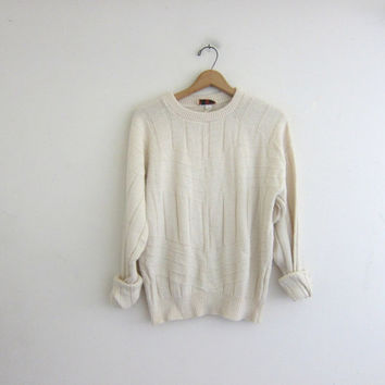 Vintage natural white sweater. Oversized fisherman's sweater. knit pullover. Soft cozy sweater.