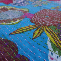 Tropical Kantha Quilt,Handmade Kantha Bedspread,Cotton Quilt India,Traditional Home Decor,Hand Kantha Work Blanket,Reversible Kantha Throw