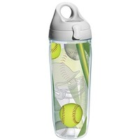 Tervis Softball Wrap and Water Bottle with Grey Lid, 24-Ounce, Beverage