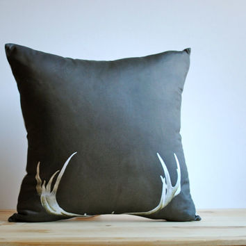 Deer Antler Organic PILLOW, Decorative Photo Throw Pillow Sham Cover - Brown Minimalist Rustic Home Decor for Men- Collab with Raceytay