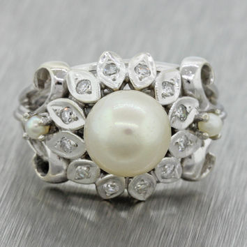 1940s Antique Art Deco 14k Solid White Gold Pearl .24ctw Diamond Cocktail Ring