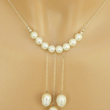 Unique Pearl Necklace Handcrafted White Freshwater Silver Chain Short