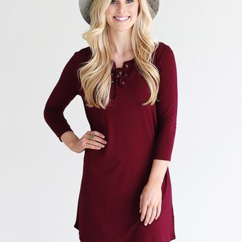 Burgundy PIKO 3/4 Sleeve Lace Up Dress