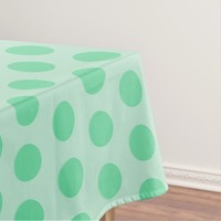 Large mint green polka dots pattern, retro style tablecloth