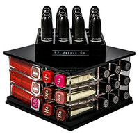 Spinning Acrylic Lipstick Organizer Holder | 52 Slot Makeup Tower Storage Box Solution | By N2 Makeup Co (Small Tower, Sapphire Black)